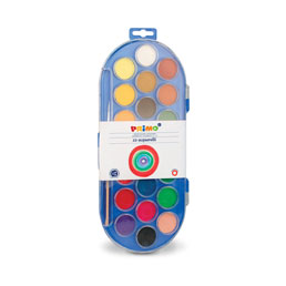 آبرنگ جعبه پلاستیكي ۲۲ رنگ بیضي + پالت + قلم مو