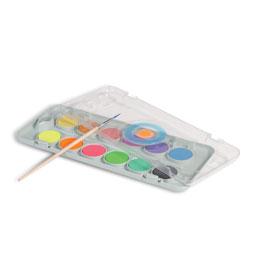 آبرنگ جعبه پلاستیکی ۱۲رنگ، 8 رنگ متالیک + 4 رنگ فلو + پالت + قلممو